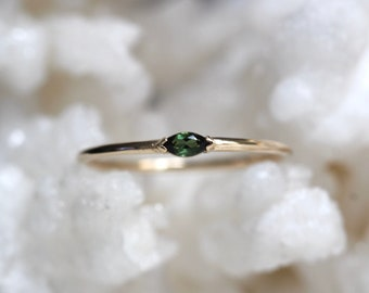"""14K Gold Green Tourmaline Marquise Ring, """"Wink"""" Ring, Stacking Ring, Dainty Ring, Midi Ring, Promise Ring, Solitaire Ring, Green Stone Ring"""