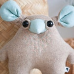 small woolly animal monster art toy creature soft beige blue whimsical animal - plushie softie MUTA