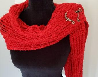 Shawl - Lacy Wrap, Handmade Shawl, Boho wrap, Crochet Shawl, Red Shawl, Crochet Scarf, Gift for Her, Fashion Accessories