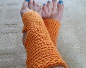 Yoga Socks - Toeless BalletSocks, Pilates, Dance Warmers, Crocheted Orange Socks, For Her, Superwash Yarn