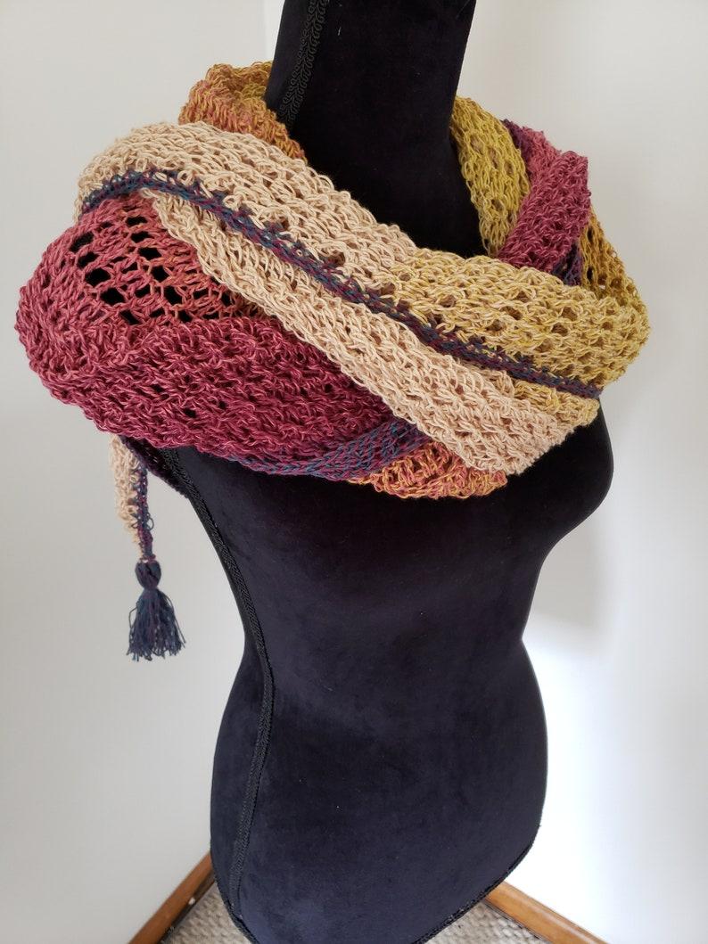 Dragon Belly Shawl  Triangle Shaw  Tassel Shawl  Crochet image 0