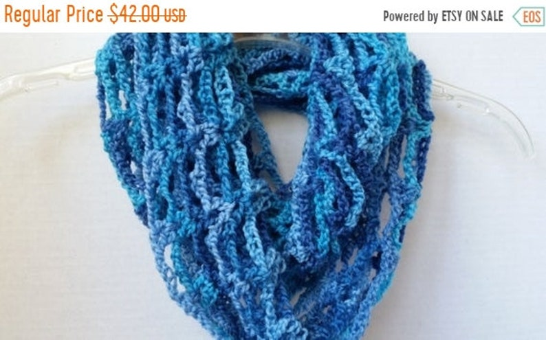 ON SALE Infinity Mobius Cowl  Scarves for Women Blue Scarf image 0