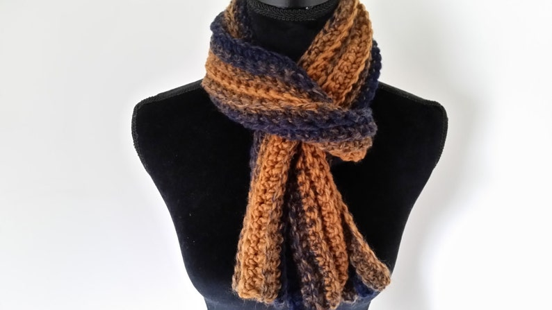 Neckwarmer Scarf  Crocheted Brown Blue For Her For Him image 0