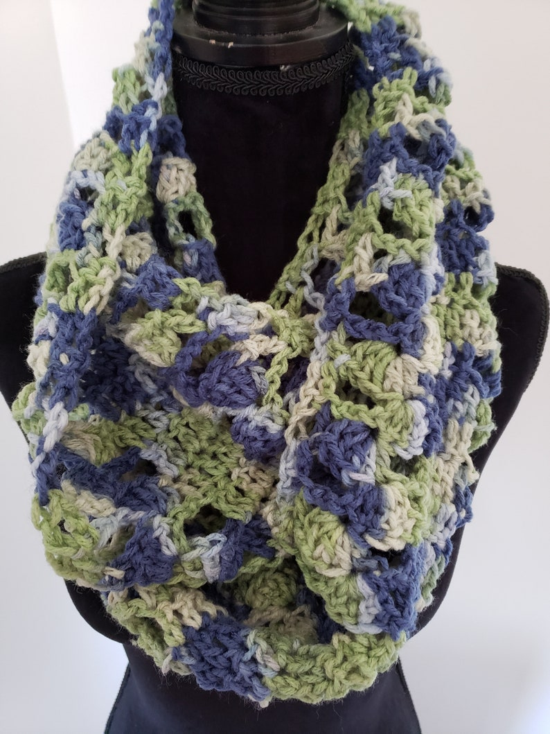 Scarf  Infinity Scarf Chunky Scarf Crocheted Scarf Blue image 0