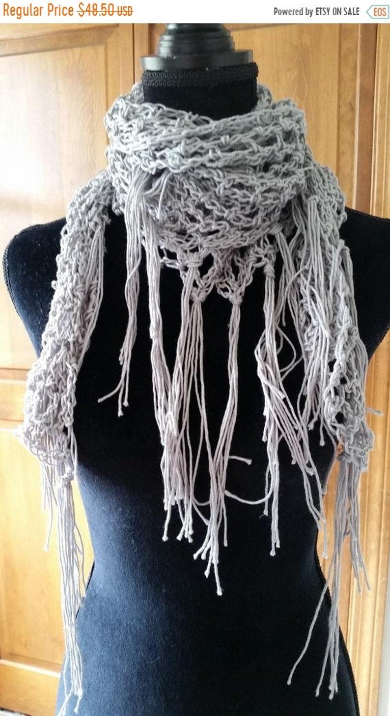 ON SALE Shawl  Boho Scarf Triangle Shawl Crochet Wrap image 0
