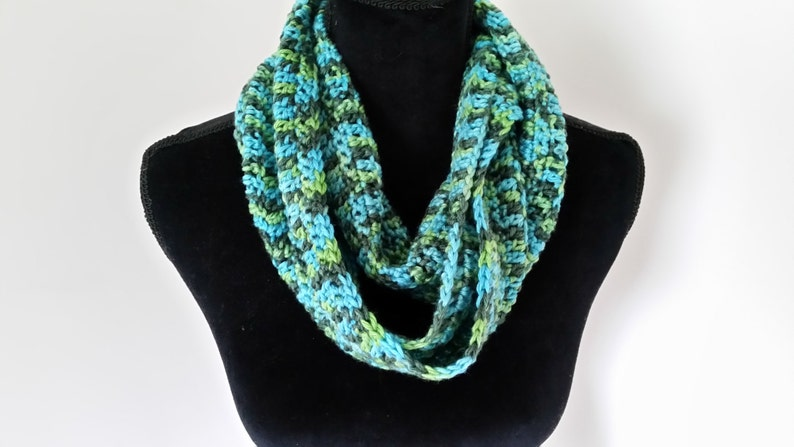 Cowl Infinity Scarf  Turquoise Unisex Scarf Crocheted image 0