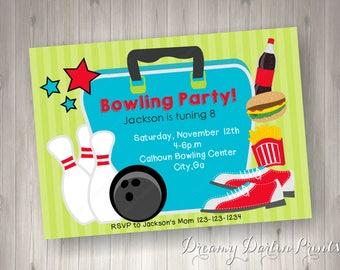 printable bowling party invitation design 5x7 you print etsy