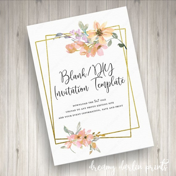 Blank DIY Watercolor Floral Invitation Template JPG 5x7 Digital File OnlyYou Print