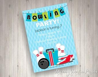 Printable Bowling Party Invitation Design, Bowling Invite, 5x7, 4x6, You Print!
