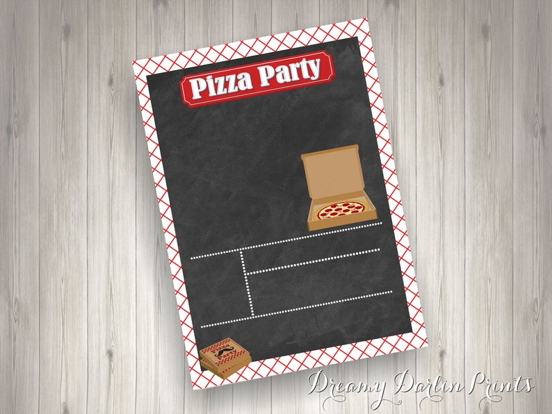 Blank DIY Pizza Party Chalkboard Invitation Template 5x7 JPG Personal Use Instant Download