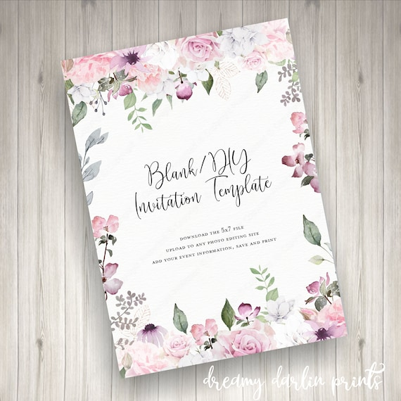 Blank DIY Watercolor Floral Invitation Template JPG 5x7 Digital FileYou Print