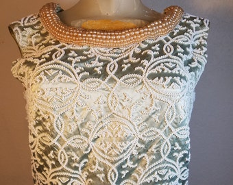 FREE  SHIPPING  Vintage Satin Beaded Blouse