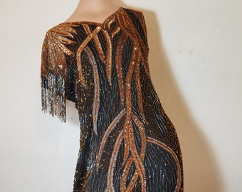 fREE SHIPPING  1980 Astract Bead Silk Dress