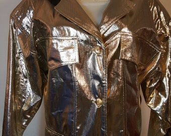 FREE  SHIPPING   Vintage   Gold  Lame  Jacket