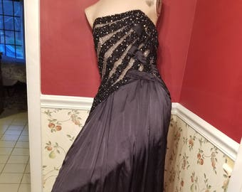 FREE  SHIPPING   1980 Couture  silk  Beaded  Gown