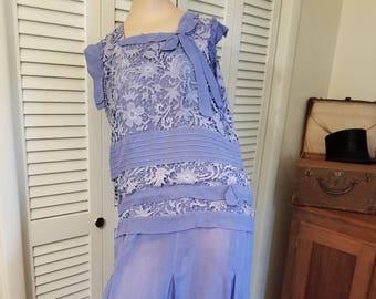 FREE  SHIPPING   1930  Silk  Crepe  Lace  Dress