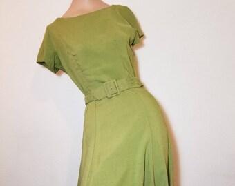 FREE  SHIPPING  1950  Silk  Linen  Dress