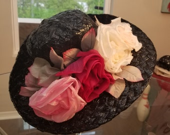 FREE  SHIPPING   1950  Straw  wide  Brim  Floral  Hat