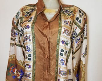 FREE  SHIPPING   Versace  Style Silk  Blouse