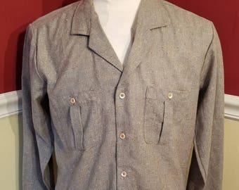 FREE  SHIPPING  Men  Wool  Tweed  Shirt