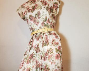 FREE  SHIPPING   1950  Cotton   Day  Dress