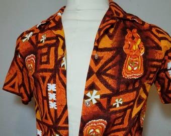 FREE  SHIPPING   1960 Tiki Bark Cloth Hawaiian  Shirt