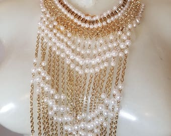 FREE  SHIPPING   Vintage Gold Pearl Bib Necklace