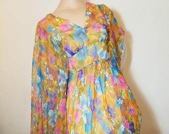 FREE  SHIPPING  1960 Sheer Chiffon Evening Gown