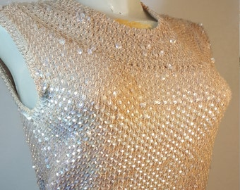FREE  SHIPPING   Vintage Hand Knit Sequin Sweater