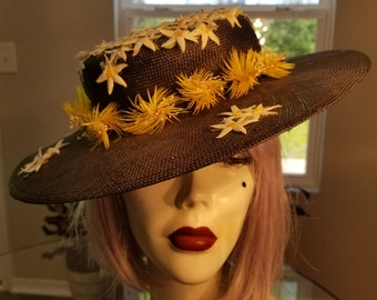 f5eae5d54d8 FREE SHIPPING 1960 Wide brim Floral Straw Hat