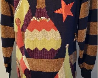db2fe83bc Vintage 1980 Woman Pop Art Sequin Abstract Sweater. VINTAGErevengCOUTURE