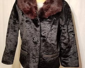 FREE  SHIPPING  1950 Faux  Persian  Lamb  Fur  Jacket