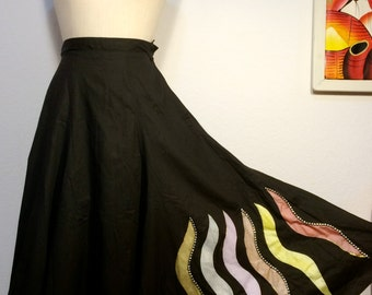 FREE  SHIPPING    1950 Hand Painted Full Circle Skirt