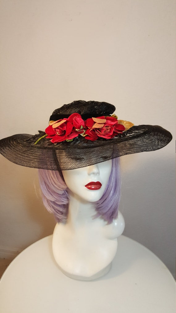 FREE  SHIPPING   1940 Wide Brim Straw Hat