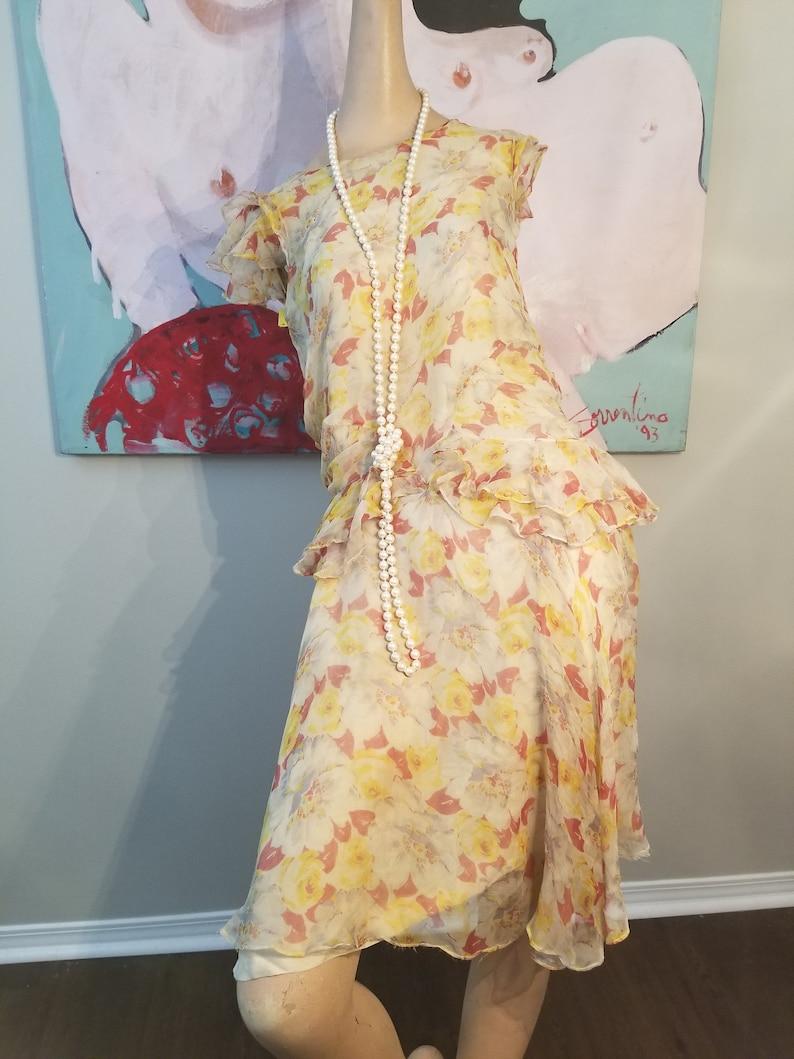 b3ef752c4e387 FREE SHIPPING 1920 Silk Crepe Floral Dress