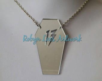 Large Mirrored Silver Laser Cut 13 Coffin Acrylic Pendant Necklace on Silver, Bronze, Gold, Gunmetal or Black Chain