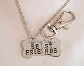 Best Friends Split Bone Necklace Pet Dog Tag Set on Silver Crossed Chain or Black Faux Suede Cord and Silver Bag Clip