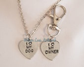 I 3 My Dog, I 3 My Owner Necklace and Dog Pet Tag Set on Silver Crossed Chain or Black Faux Suede Cord Silver Bag Clip