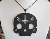 XL Matte Black Laser Cut Acrylic Sugar Skull Inverted Cross Lightning Necklace on Silver, Bronze, Gunmetal or Gold Chain or Black Cord