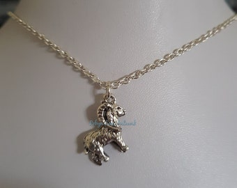 Capricorn Cute Fluffy Fairy Sheep Shaped Pendant Necklace in Silver Handmade Animal Inspired Jewelry