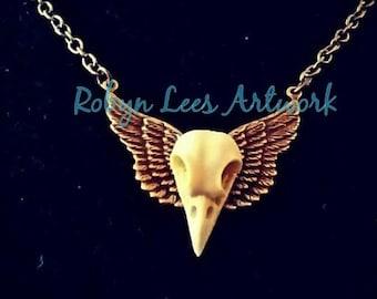 Gothic raven amulet ravens amulet Wings Phoenix amulet crow wings jewel with wings gothic amulet,