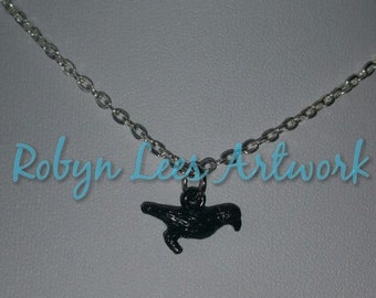 Tiny Black Raven Crow Bird Charm Necklace on Silver, Bronze or Gunmetal Crossed Chain
