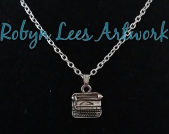 Small Silver Writer's Typewriter Necklace on Silver Chain or Black Faux Suede Cord
