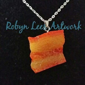 Blue Pink or Green on Silver Chain Yellow Small Jellybean Jelly Bean Necklace in Orange