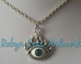 Augen Choker Halskette • Evil Eye Necklace Witch Gothic Goth Auge BLACK