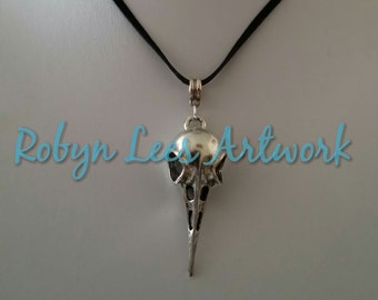 Bird Crow Raven Skull Necklace in Silver on Black Faux Suede Cord