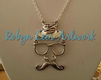 Silver Hat, Glasses and Moustache Necklace on Silver Chain