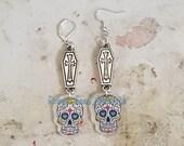 3D Silver Cross Coffin Dia De Los Muertos Acrylic Sugar Skull Earrings on Silver Hooks or Leverbacks, Halloween, Cute, Gothic