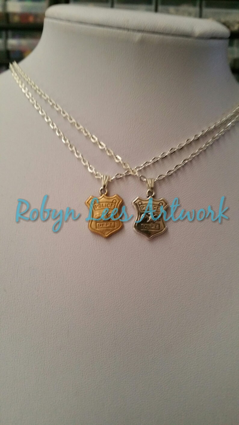 Small Silver Plated or Gold Enamel Coated Police Dept FBI Badge Charm Necklace on Silver Crossed Chain