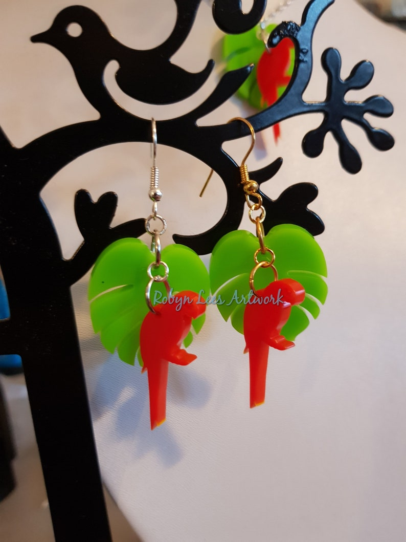 Laser Cut Red Parrot /& Lime Green Tropical Leaf Acrylic Charm Necklace and Earrings Set on Silver or Gold Chain and Hooks